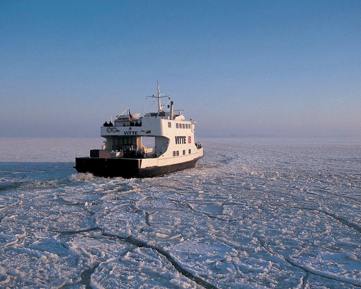 Ferry in the frozen sea