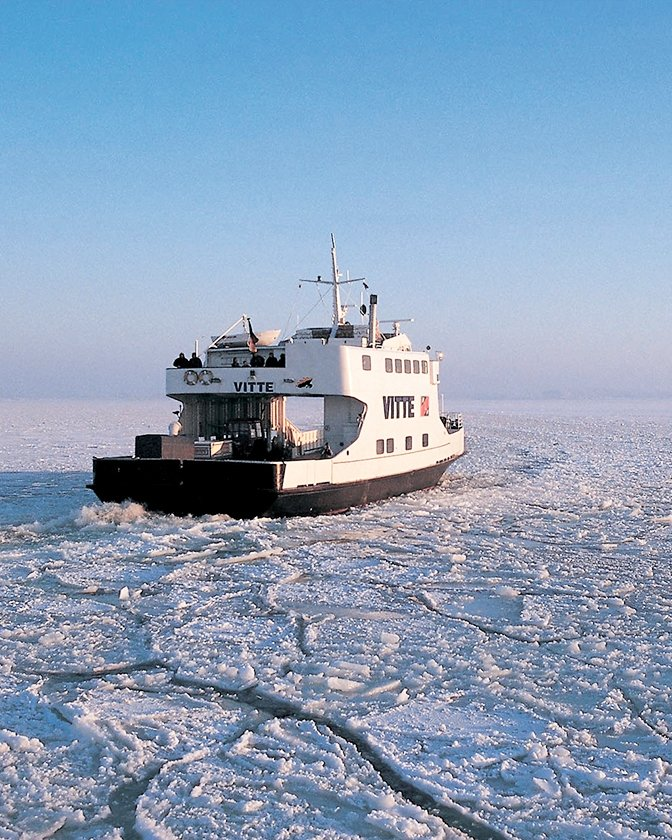 Ferry in the frozen sea