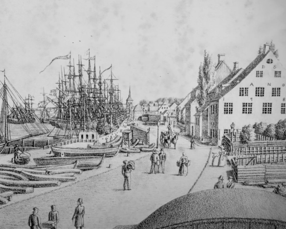 Drawing of a street near the harbor in the 18th century