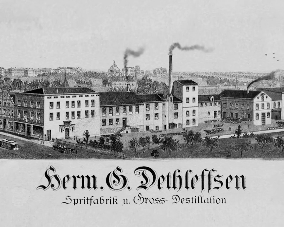 Drawing of the Dethleffsen spirits factory in 1870