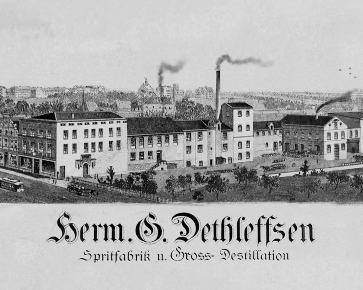 Zeichung der Dethleffsen Spirituosenfabrik im Jahr 1870